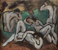 nudes in a landscape by max weber