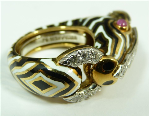 18k yg plat diamond david webb zebra head ring