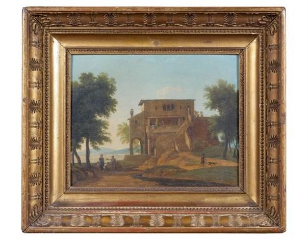 villa italienne antique près dun lac et personnages près dune fontaine pair by jean victor bertin