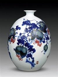 福寿图 by yu donghua