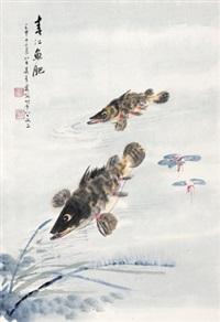 春江鱼肥 镜心 设色纸本 (painted in 1992 fish) by wu qingxia
