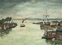 honfleur sortie du port by marcel françois leprin