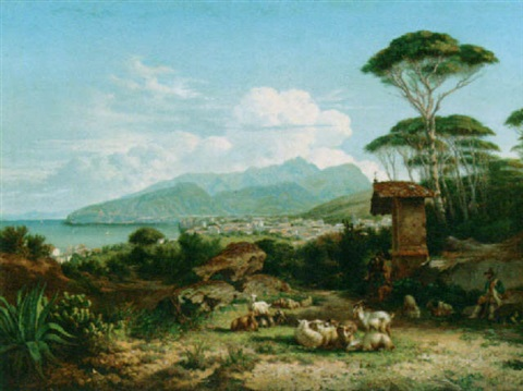 a shepherd and his flock in an italian landscape by charles coumont