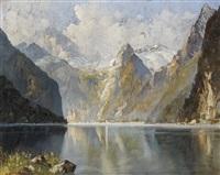 paysage montagneux et rivière by e. huther