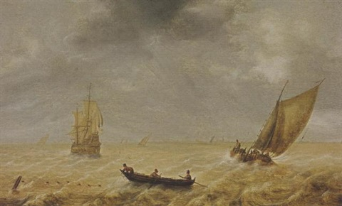 fishermen in a rowing boat and sailing vessels in a choppy sea a city in the distance by hendrick van anthonissen