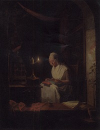 a lady in an interior making lace by the light of an oil lamp by gerrit arnoldus van merkesteijn