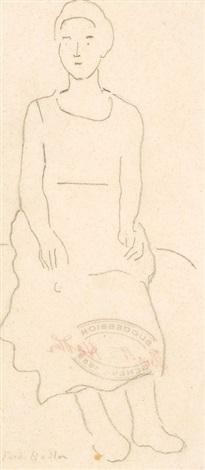 figurenstudie zu einer sitzenden dame study by ferdinand hodler