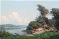 summer day with a shepherd with his cows at a coast by carl frederik bartsch