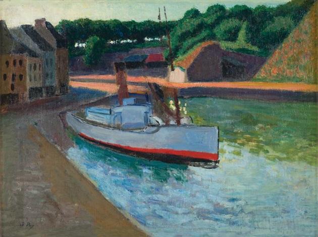 remorqueur en bord de rivière et étude de paysage recto verso by jean puy