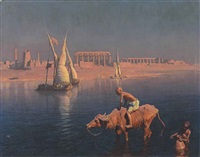 water carriers and feluccas in front of the temple of philae, egypt by adam styka