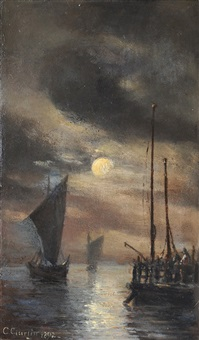 moonlit harbour by cornelius gurlitt