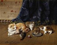 chaton près du chaudron by léon hubert