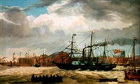 a paddle steamer and other shipping in the docks at kingston upon hull by thomas a. binks