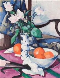 still life with roses and oranges by samuel john peploe