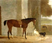 a dark brown horse tethered to an arch with dogs in a landscape by george morley