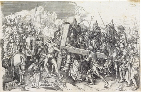 christ carrying the cross the large plate by martin schongauer