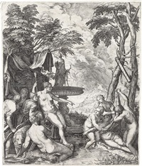 diana and callisto (after titian) by cornelis cort