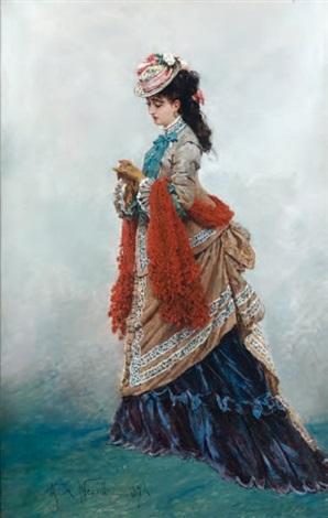 jeune femme au chapeau by alphonse marie de neuville