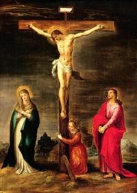 crucifixion entre la vierge, saint jean l'évangéliste et sainte marie-madeleine by pieter lisaert iv