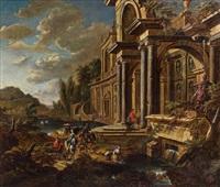 palastarchitektur mit figurenstaffage by jan baptist van der straeten