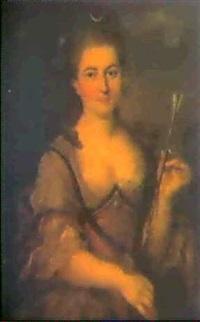 portrait de jeune femme en diane by claude arnulphy