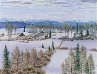 snowy fields and mountains by j. stanford perrott