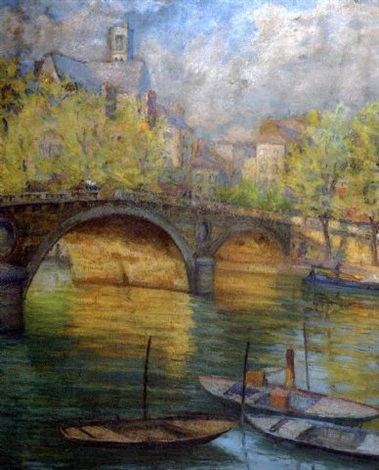 boats on the seine by stelios miliadis