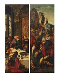 the left wing of a triptych: the betrayal of christ (recto); the last supper (verso) by master of the antwerp adoration