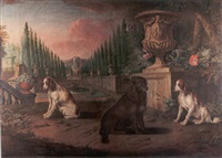 a landscape with three spaniels seated beside a monumental stone urn in formal garden by anglo-dutch school (18)