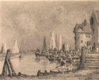 boats in the harbour by thomas w. armes