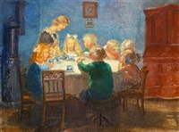 a blue interior with a children's party at skagen by anna kirstine ancher