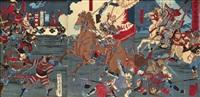 刀马人图 (triptych - scene from the battle of mikatagahara) (oban) (engraved by hori tatsu) by toyohara chikanobu