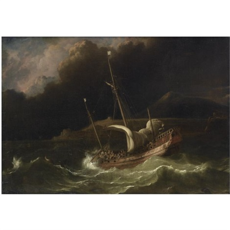 a flute in a tempestuous sea near a strip of land by ludolf backhuysen the elder