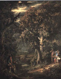 faggot gathers in a forest with lightning striking a tree by giovanni battista innocenzo colombo