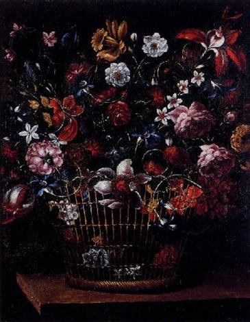 bodegón con cesto de flores by josé de arellano