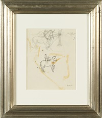 étude de chevaux avec cavalier et cheval entravé (study) by rené magritte