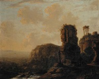 extensive river landscape with capriccio of classical ruins by carl ferdinand fabritius