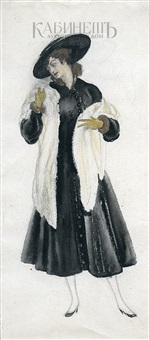 дама в черном платье. эскиз платья. by nikolai andreevich tyrsa