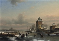 a winter landscape with many figures on a frozen waterway by louis smets