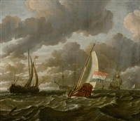 marine hollandaise par temps calme avec des bateaux de pêche au premier plan et un navire de guerre dans le fond à droite by abraham jansz storck