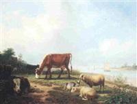 weidende tiere am flußufer by friedrich karl joseph simmler