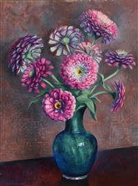 purple zinnias by kenneth miller adams