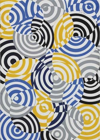 interférences en bleu jaune et gris no 641 by antonio asis