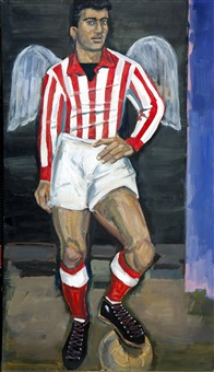 olympiacos football player with wings of victory by yannis tsarouchis