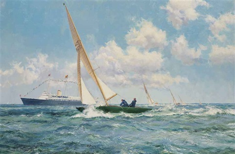 hrh the prince philip duke of edinburgh and uffa fox esq racing on the dukes flying fifteen coweslip at cowes with the royal yacht britannia by montague dawson