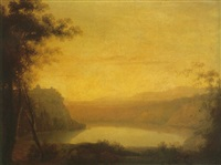 a view of lake albano and castel gandolfo by robert freebairn