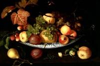 nature morte de fruits dans un bol de porcelaine posé sur un entablement avec sauterelle, papillons et insectes by johannes bosschaert