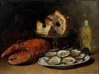 a still life with lobster, a pie and oysters by guillaume romain fouace