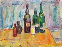 stillleben mit grünen flaschen auf rotem tischtuch by wolfgang von websky