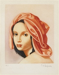 jeune fille au turban orange by tamara de lempicka